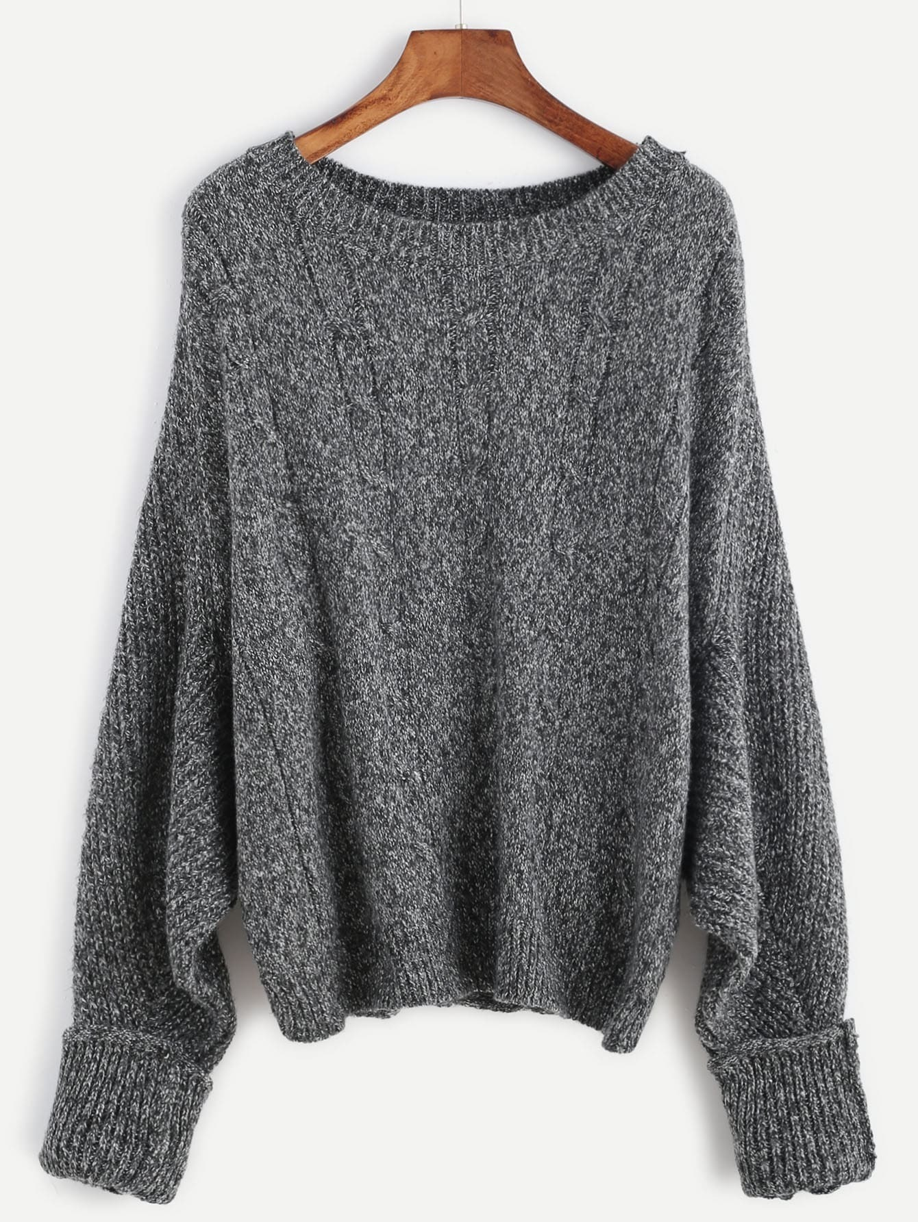 Dark Grey Batwing Sleeve Cuffed Cable Knit Sweater EmmaCloth-Women ...