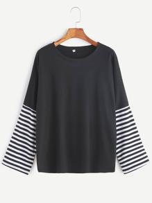 Black Striped Sleeve Drop Shoulder Seam T-Shirt