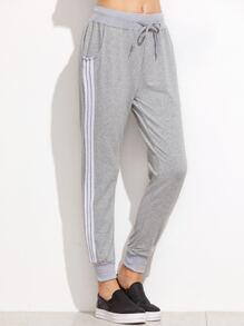 Grey Striped Side Drawstring Pants