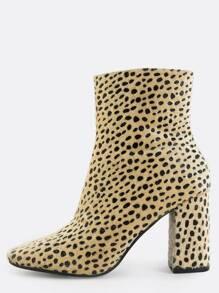 Leopard Square Toe Booties MULTI