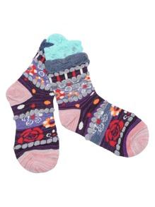 Multicolor National Style Rib Cuff Socks