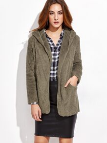 Army Green Long Sleeve Hooded Coat