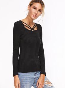 Black Crisscross Scoop Neck Ribbed T-shirt