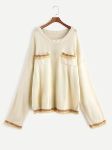 Apricot Pocket Front Oversized Sweater With Embroidered Tape Detail