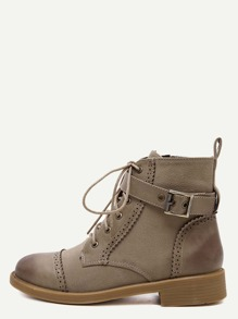 Apricot Distressed Cap Toe Ankle Strap Martin Boots
