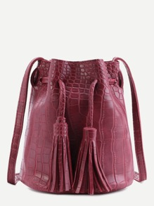 Maroon Crocodile PU Tassel Drawstring Bucket Bag