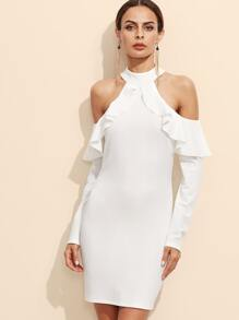 White Open Shoulder Zipper Back Ruffle Dress