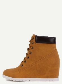 Brown Nubuck Leather Fur Lined Hidden Wedge Heel Boots