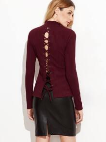 Burgundy Lace Up Back Ribbed Slim Fit T-shirt