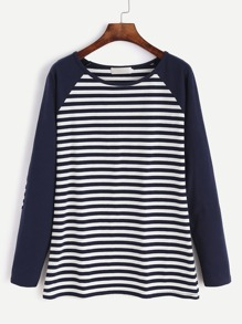 Contrast Raglan Sleeve Elbow Patch Striped T-shirt