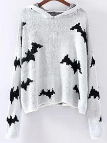 White Bat Pattern Hooded Sweater