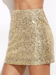 Gold Embroidered Sequin Mini Skirt
