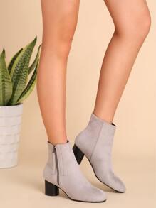 Light Grey Faux Suede Almond Toe Side Zipper Short Boots