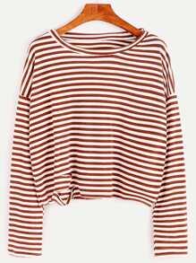 Striped Distressed Drop Shoulder Seam T-shirt