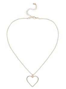Gold Plated Hollow Heart Pendant Necklace