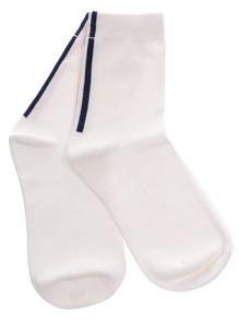White Vertical Stripe Crew Socks