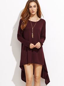 Burgundy Dip Hem Tee Dress