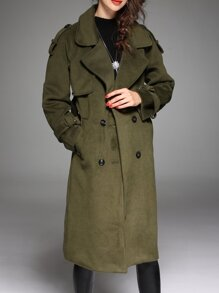 Army Green Lapel Pockets Coat