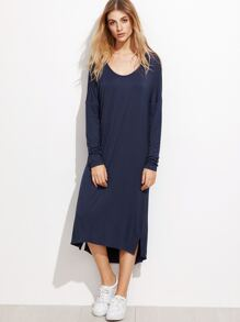 Navy Drop Shoulder Cut And Sew High Low Dress