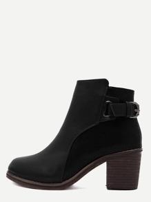 Black PU Snakeskin Trim Distressed Cork Heel Short Boots