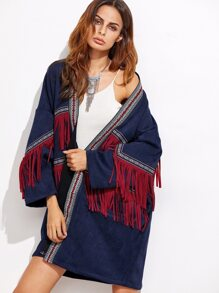 Navy Faux Suede Fringe Coat With Embroidered Tape Detail