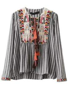 Grey Vertical Striped Embroidery Tie Blouse