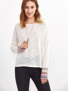 White Drop Shoulder Tribal Pattern Cuff Slub Sweater