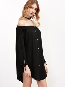 Black Off The Shoulder Button Front Tie Sleeve Dress