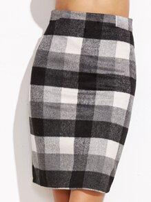 Check Plaid Zipper Back Skirt