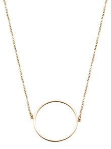 Gold Plated Hollow Circle Pendant Necklace