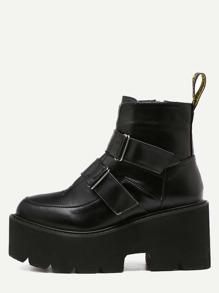 Black Faux Leather Buckle Strap Platform Boots