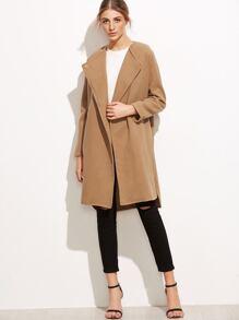Khaki Slit Side Curved Hem Coat