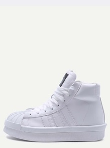 White PU Lace Up Rubber Sole High Top Sneakers