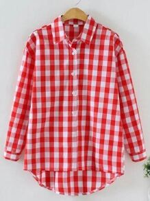 Red Check Plaid High Low Shirt