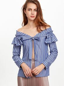 Blue Striped Tie Front Off The Shoulder Ruffle Blouse