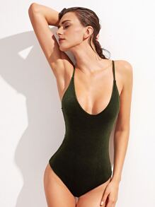Dark Green Cross Back One-Piece Swimwear