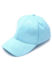 Sky Blue Casual Suede Cap