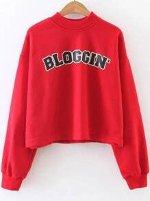 Red Letter Print Crew Neck Sweatshirt