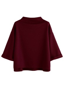 Mock Neck Drop Shoulder High Low Cuffed T-shirt