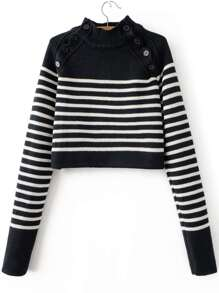 Black Striped Button Detail Mock Neck Sweater