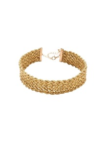 Shiny Gold Braided Hollow Out Choker Necklace