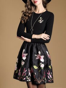 Black Knit Flowers Embroidered Jacquard Combo Dress
