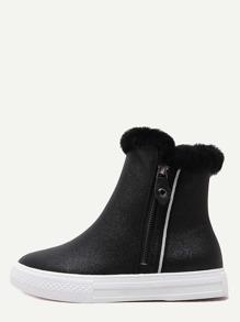 Black Glitter PU Fur Cuff Rubber Sole Flat Boots