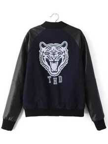 Navy Letter Embroidery Contrast PU Sleeve Baseball Jacket