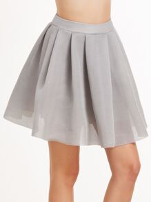 Grey Box Pleated Flare Mesh Skirt