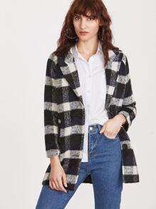 Black Plaid Peak Collar Single Breasted Coat