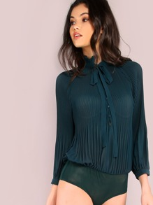 Pleated Chiffon Sleeved Bodysuit DARK GREEN