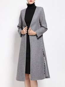 Grey Beading Pockets Long Coat