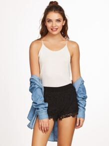 Black Floral Embroidered Lace Shorts
