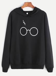 Black Eyeglass Print Hooded Sweatshirt